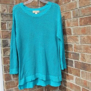Michael Kors Women's Crocheted Blue Sweater